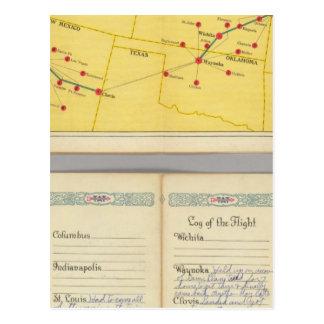 Carte Postale Parcours aérien de Los Angeles vers Columbus
