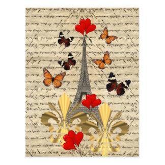 Carte Postale Paris vintage et papillons