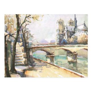 Carte Postale Paris vintage, Notre Dame, La la Seine