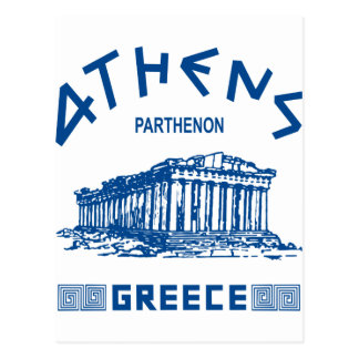 Carte Postale Parthenon - Athènes - Grec (bleu)