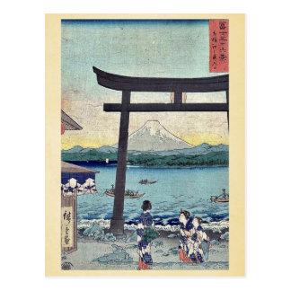 Carte Postale Passage à Enoshima dans Sagami par Ando, Hiroshige