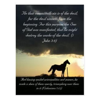 Carte Postale Passage de bible, un beau cheval dans le coucher