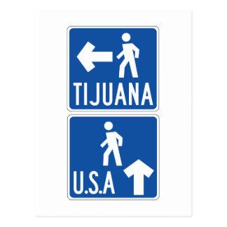 Carte Postale Passage pour piétons Tijuana-ETATS-UNIS, poteau de