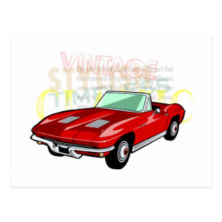Carte Postale Pastenague de Corvette ou voiture de sport rouge