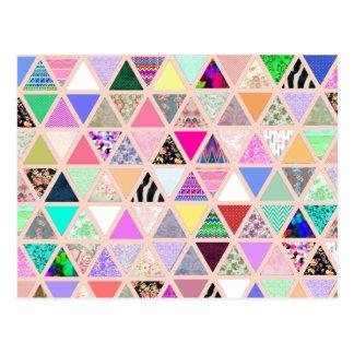 Carte Postale Patchwork floral abstrait de pastel de triangles