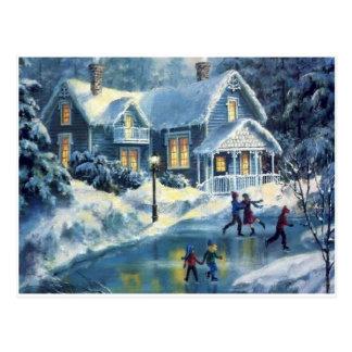 Carte Postale Patinage de glace vintage d'hiver de Noël