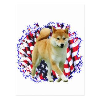 Carte Postale Patriote de Shiba Inu