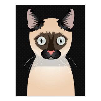 Carte Postale Pattes de bande dessinée de chat de Tonkinese