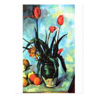 Carte Postale Paul Cezanne - vase de tulipes