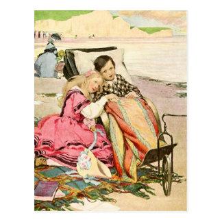 Carte Postale Paul Dombey et Florence sur la plage à Brighton