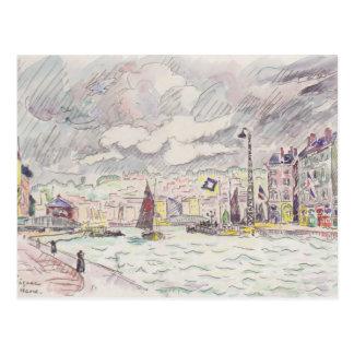 Carte Postale Paul Signac- le Havre avec des nuages de pluie