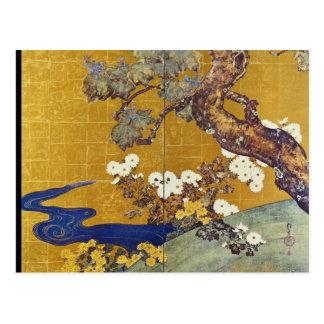 Carte Postale Paulownias blanc et chrysanthèmes, Sakai Hoitsu