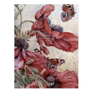 Carte Postale Pavots et papillons d'Edouard Jules Detmold