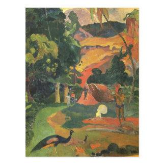 Carte Postale Paysage avec des paons par Paul Gauguin