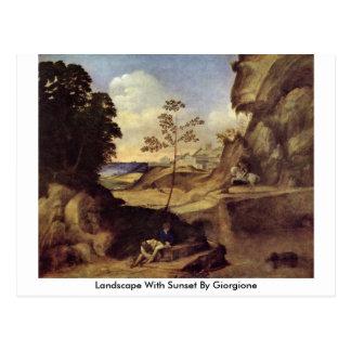 Carte Postale Paysage avec le coucher du soleil par Giorgione