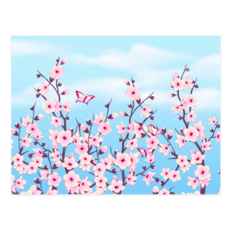 Carte Postale Paysage de fleurs de cerisier