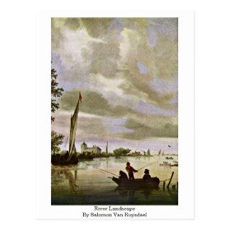 Carte Postale Paysage de rivière par Salomon Van Ruysdael