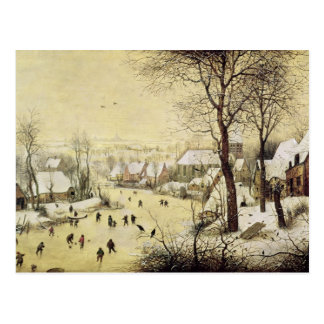 Carte Postale Paysage d'hiver avec des patineurs