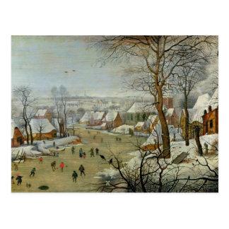 Carte Postale Paysage d'hiver avec des patineurs et un piège