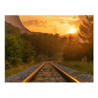 Carte Postale Paysage ferroviaire de coucher du soleil
