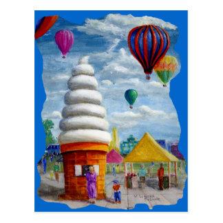 Carte Postale Paysage géant de carnaval de cornet de crème