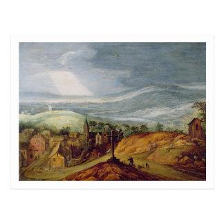 Carte Postale Paysage rural avec un pèlerin se mettant à genoux