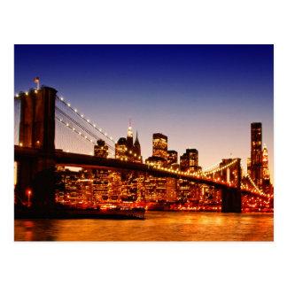 Carte Postale Paysage urbain de New York avec le pont au-dessus