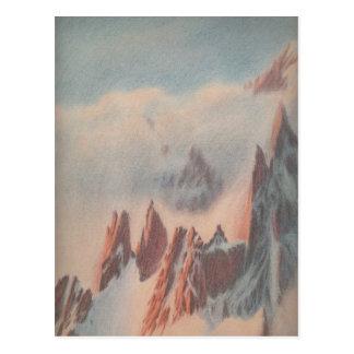 Carte Postale Paysage vintage de glacier de montagne de dessin