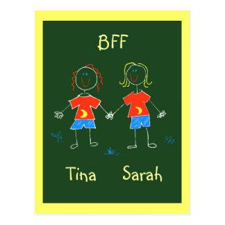 Carte Postale PC d'expression d'amitié de BFF personnalisé par