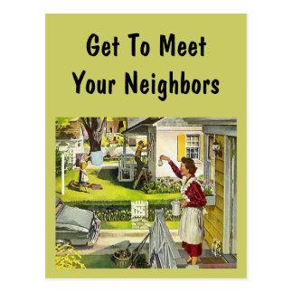 Carte Postale PC social de partie de bloc de rétro voisinage de