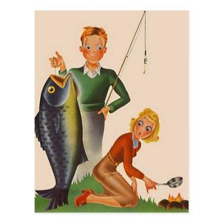 Carte Postale PC vintage de vacances de camping de pêche de