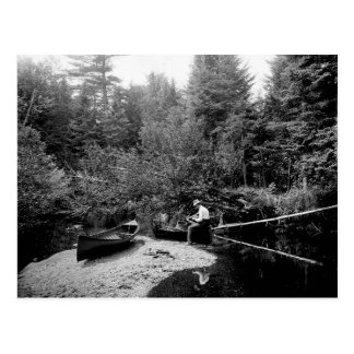 Carte Postale Pêche de canoë d'Adirondack