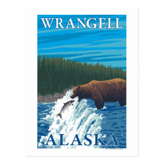 Carte Postale Pêche d'ours en rivière - Wrangell, Alaska