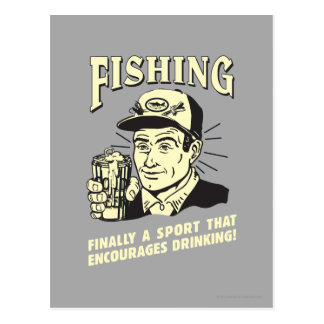 Carte Postale Pêche : Le sport encourage le boire