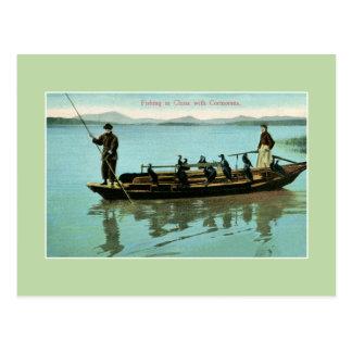 Carte Postale Pêche vintage de la Chine avec des cormorans