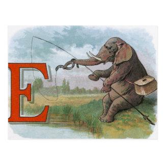 Carte Postale Pêche vintage de pêcheur d'éléphant