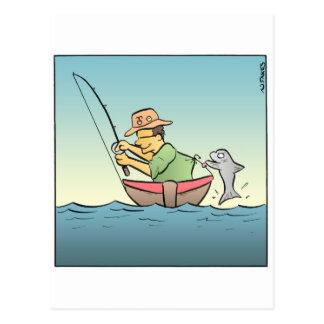 Carte Postale Pêcheur accroché