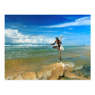 Carte Postale Pêcheur de bâton du Sri Lanka