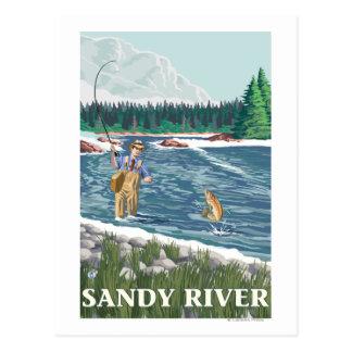 Carte Postale Pêcheur de mouche - rivière de Sandy, Orégon