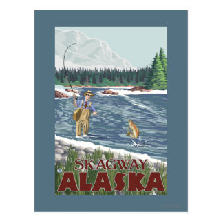 Carte Postale Pêcheur de mouche - Skagway, Alaska