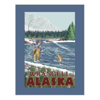 Carte Postale Pêcheur de mouche - Wrangell, Alaska