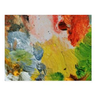 Carte Postale Peignez l'art abstrait de couleurs de palette