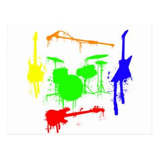 Carte Postale Peignez le graffiti de bande d'instruments de
