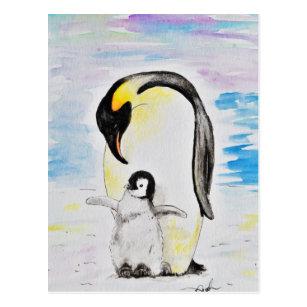 Cartes Postales Peinture Pingouin Originales Zazzle Fr