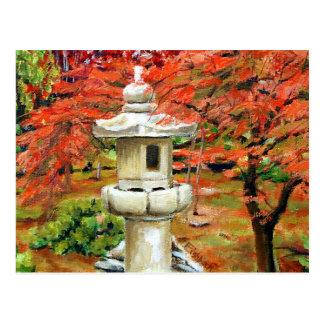 Carte Postale Peinture à l'huile japonaise de paysage de jardin