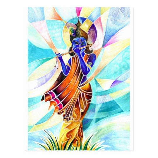 Carte Postale Peinture Abstraite Faite Main De Seigneur Krishna Zazzle Fr