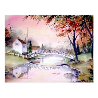 Carte Postale Peinture arquée d'aquarelle de pont