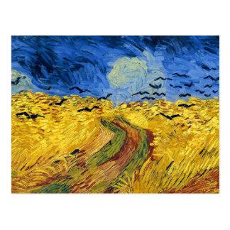 Carte Postale Peinture célèbre de champs de blé de Van Gogh