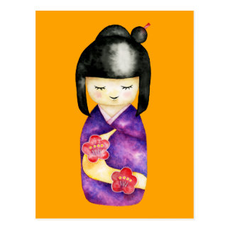 Carte Postale Peinture d'aquarelle de Kokeshi