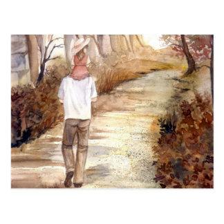 Carte Postale Peinture d'aquarelle de traînée d'automne